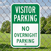 Visitor Parking No Overnight Parking Signs