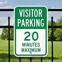 Visitor Parking 20 Minutes Maximum Signs
