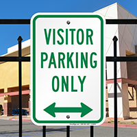 Visitor Parking Only with Bidirectional Arrow Signs