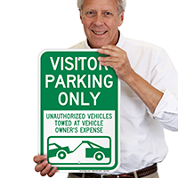Visitor Parking Only, Unauthorized Vehicles Towed Signs