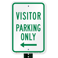 Visitor Parking Only With Left Arrow Signs