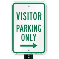 Visitor Parking Only With Right Arrow Sign