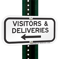 Visitors & Deliveries Left Arrow Sign