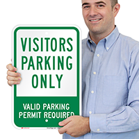 Visitors Parking Only Valid Parking Permit Signs