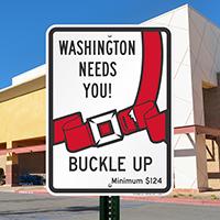 Washington Buckle Up Seat Belt Safety Signs