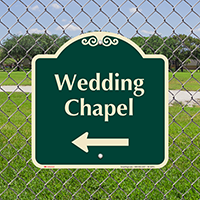 Wedding Chapel Left Arrow Signature Sign