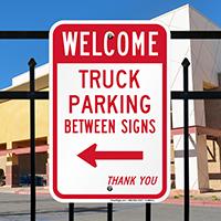 Truck Parking Between with Left Arrow Signs