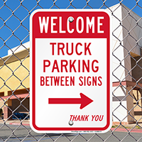 Truck Parking Between with Right Arrow Signs