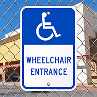 Wheelchair Entrance Signs (With Graphic)