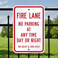 Wisconsin Fire Lane No Parking Signs