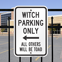 Witch Parking Only With Left Arrow Signs
