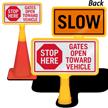 Gate Open Toward Vehicle ConeBoss Sign