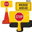 Merge Ahead Stop ConeBoss Sign