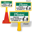 Please: Practice Social Distancing in Parking Lot FloorBoss Sign