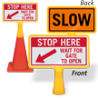 Stop Wait For Gate To Open ConeBoss Sign