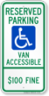 North Dakota Reserved Parking, Van Accessible Sign