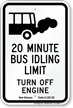 State Idle Sign for Louisiana, 20 Minute Limit
