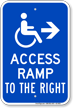 Access Ramp To The Right Handicap Sign