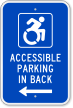 Accessible Parking In Back ISA Sign (With Graphic)