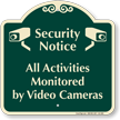 Activities Monitored By Video Cameras Signature Sign