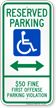 Alabama Reserved Accessible Parking Sign, Left Arrow