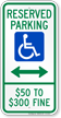 Missouri Reserved Accessible Parking Sign, Left Arrow