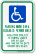 Oregon D.M.V. Disabled Permit Parking Only Sign