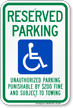 Tennessee Reserved Accessible Parking Sign