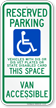 Wisconsin Reserved Parking, Van Accessible Sign