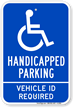 Handicapped Parking Vehicle ID Required Sign
