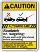 Automatic Gates, Absolutely No Tailgating Caution Sign