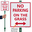 Bidirectional No Parking on Grass Lawnboss Sign