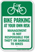Bike Parking At Your Own Risk Bicycle Parking Sign
