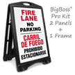 Bilingual Fire Lane, No Parking Sidewalk Sign