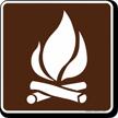 Campfire Symbol Sign For Campsite