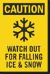 Watch Falling Ice Snow Frostbite Symbol Sidewalk Sign