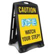 Caution Ice Watch Your Step Sidewalk Sign