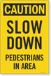 Caution Slow Down Pedestrians In Area Sidewalk Panel