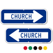 Church Directional Parking Sign