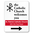 Custom Directional Arrow Church Sign