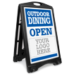 Custom Outdoor Dining Open: Upload Your Logo