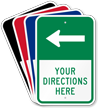 Customizable Parking Lot Directions Sign, Left Arrow