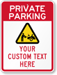 Custom Private Parking, Unauthorized Cars Crushed Sign