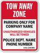 Custom Arizona Tow-Away Sign