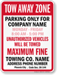 Custom Tow-Away Sign for Arizona Phoenix