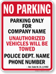 Custom Delaware Tow-Away Sign