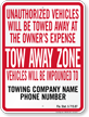 Custom Florida Tow-Away Sign
