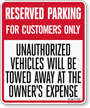 Custom Florida Customer Parking Tow-Away Sign