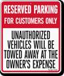 Custom Florida Customer Parking Tow-Away Sign