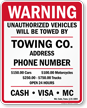 Custom Maryland Tow-Away Sign